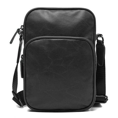 Best Fashion Style Solid Color and PU Leather Design Men's Messenger Bag BLACK