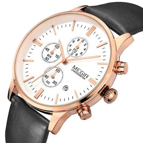 Outfits MEGIR 2011 Male Japan Quartz Watch Date Display Genuine Leather Band 30M Water Resistance -   Mobile
