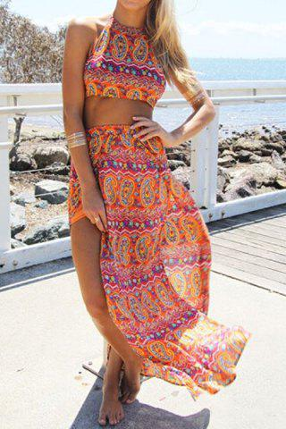 Online Stylish Halter Backless Crop Top + High-Waisted Ethnic Pattern Skirt Women's Twinset