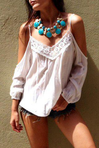 Sexy Style Spaghetti Strap White Lace Splicing Long Sleeve T-Shirt For Women - White - S