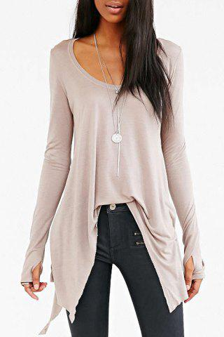 Fashionable Scoop Neck Asymmetrical Solid Color Long Sleeve T-Shirt For Women - Off-white - Xl