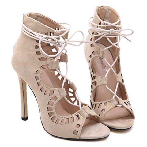 Trendy Stiletto Heel Lace Up Cut Out Sandals - 38 APRICOT Mobile