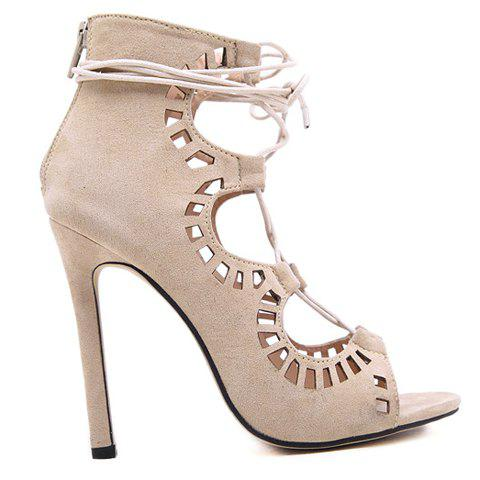 Hot Stiletto Heel Lace Up Cut Out Sandals - 38 APRICOT Mobile