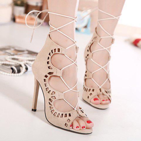 Fancy Stiletto Heel Lace Up Cut Out Sandals - 38 APRICOT Mobile