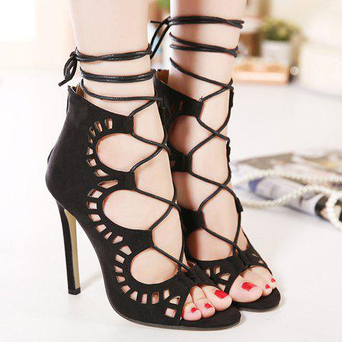 Fashion Stiletto Heel Lace Up Cut Out Sandals