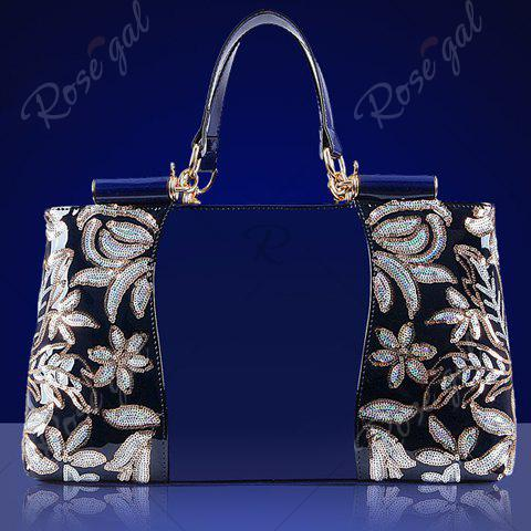 New Retro Flower Pattern and Sequined Design Women's Tote Bag - DEEP BLUE  Mobile