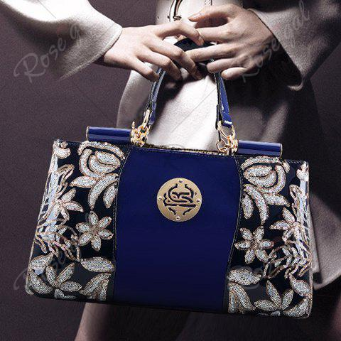 Discount Retro Flower Pattern and Sequined Design Women's Tote Bag - DEEP BLUE  Mobile