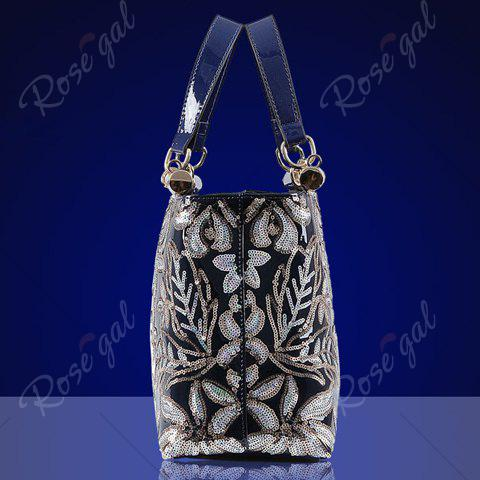 Outfits Retro Flower Pattern and Sequined Design Women's Tote Bag - DEEP BLUE  Mobile