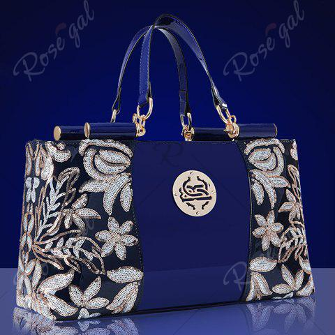 Chic Retro Flower Pattern and Sequined Design Women's Tote Bag - DEEP BLUE  Mobile