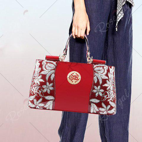 Outfits Retro Flower Pattern and Sequined Design Women's Tote Bag - RED  Mobile
