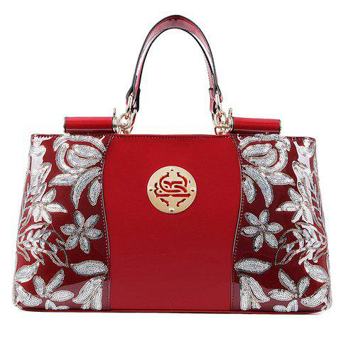 Discount Retro Flower Pattern and Sequined Design Women's Tote Bag