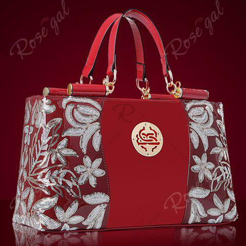 New Retro Flower Pattern and Sequined Design Women's Tote Bag - RED  Mobile