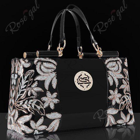 Shops Retro Flower Pattern and Sequined Design Women's Tote Bag - BLACK  Mobile