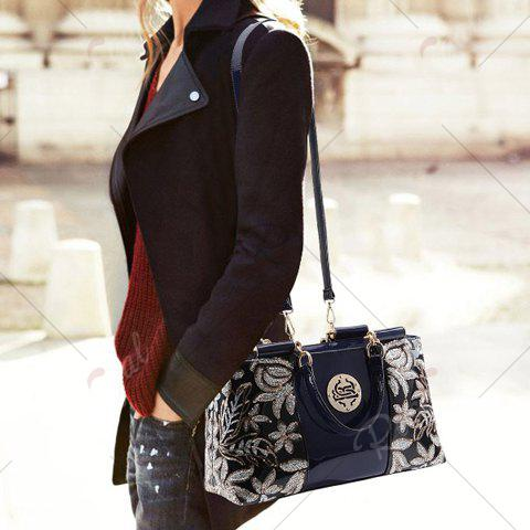 Fashion Retro Flower Pattern and Sequined Design Women's Tote Bag - BLACK  Mobile