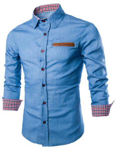New Color Block Plaid Hemming Panel Denim Shirt LIGHT BLUE M