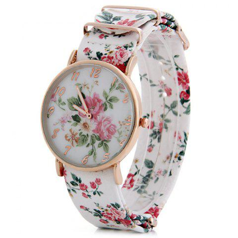 Sale Floral Pattern Leather Band Women Quartz Watch