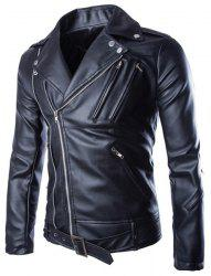 Trendy Lapel Slimming Solid Color Multi-Zipper Long Sleeve PU Leather Jacket For Men(with Belt) - BLACK