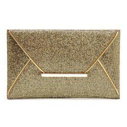 Graceful Sequined and Metallic Design Women's Evening Bag - GOLDEN