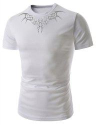 Trendy Round Neck Ethnic Totem Print Slimming Short Sleeve Polyester T-Shirt For Men