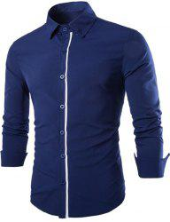 Stylish Shirt Collar Color Block Placket Slimming Long Sleeve Cotton Blend Button-Down Shirt For Men