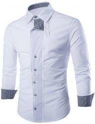 Fashion Shirt Collar Color Block Tiny Checked Splicing Slimming Long Sleeve Cotton Blend Shirt For Men - WHITE