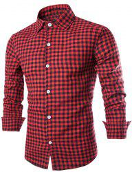 Vogue Shirt Collar Color Block Tiny Checked Slimming Long Sleeve Cotton Blend Shirt For Men