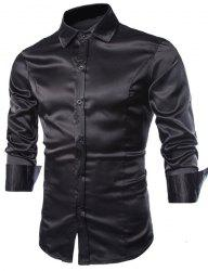Stylish Shirt Collar Splicing Design Solid Color Slimming Long Sleeve Cotton Blend Shirt For Men -