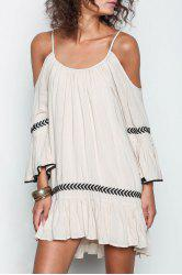 Apricot Off The Shoulder Spaghetti Strap Embroidered Dress -