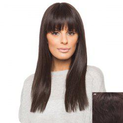 Vogue Daily Neat Bang Charming Silky Straight Long Capless Real Human Hair Wig For Women -