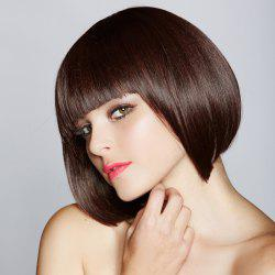 Sweet Bob Full Bang Nobby Heat Resistant Fiber Short Capless Straight Brown Women's Wig