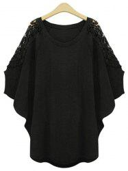 Stylish Scoop Neck Lace Splicing Plus Size Batwing Sleeve T-Shirt For Women