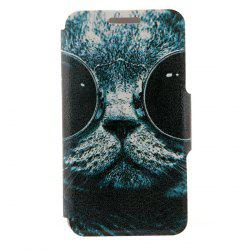 Kinston Sunglass Cat Pattern PU Leather Full Body Cover with Stand and Card Holder for iPhone 6 - 4.7 inch -