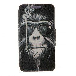 Kinston Smoking Monkey Pattern PU Leather Full Body Cover with Stand for iPhone 6 - 4.7 inch -
