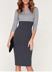 Noble Round Collar 3/4 Sleeve Color Block Bodycon Dress For Women -