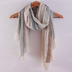 Chic Color Block Fringed Voile Scarf For Women - GRAY