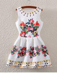 Fashionable Sleeveless High-Waisted Floral Print Flare Dress For Women