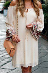 Stylish Apricot Long Sleeve Off The Shoulder Embroidered Women's Dress -