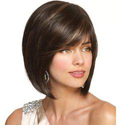 Noble Synthetic Blonde Highlight Short Side Bang Capless Bob Straight Wig For Women -