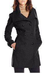 Stylish Solid Color Turn-Down Collar Double-Breasted Long Sleeve Coat For Women -