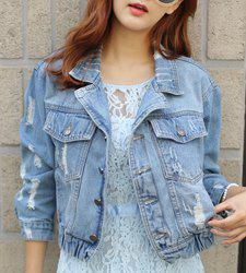 Fashionabel Turn-Down Collar Frayed Single-Breasted Long Sleeve Denim Jacket For Women -