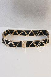 Chic Triangle Embellished Elastic Waistband For Women - BLACK