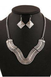 Chic V Shape Geometric Necklace And Earrings For Women -