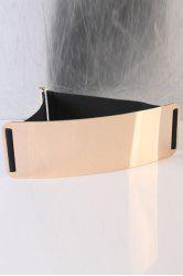 Elastic Mirror Waist Belt with Metal Plate - BLACK