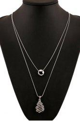 Delicate Rhinestone Inlaid Color Glazed Drop Necklace For Women -