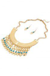 Classic Turquoise Inlaid Necklace And Earrings For Women -