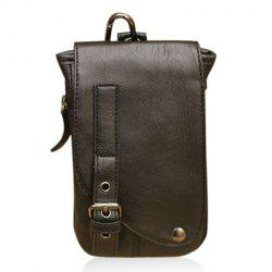 Trendy Buckle and Rivet Design Men's Messenger Bag - BLACK