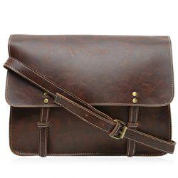 Retro Style Stitching and Solid Color Design Men's Messenger Bag