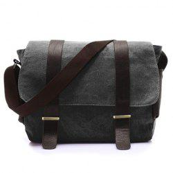 Stylish Style Splice and Canvas Design Men's Messenger Bag - BLACK GREY