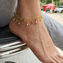 Laconic Faux Pearl Star Anklet For Women -