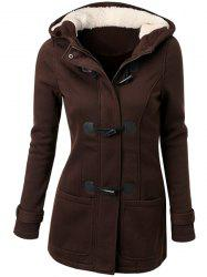 Hooded Double-Pocket Flocking Long Sleeve Long Winter Coat - COFFEE S